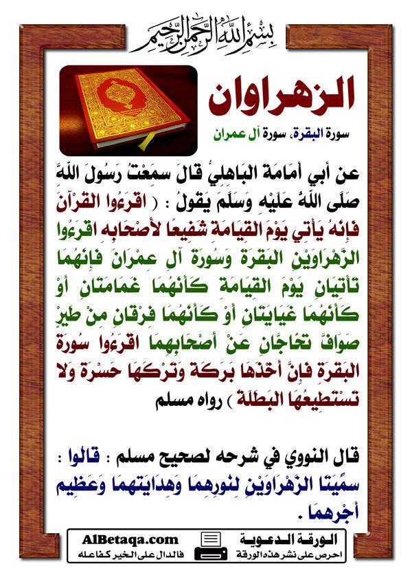 الزهراوان سورة البقرة وسورة آل عمران Islamic Quotes Quran Islam Quran