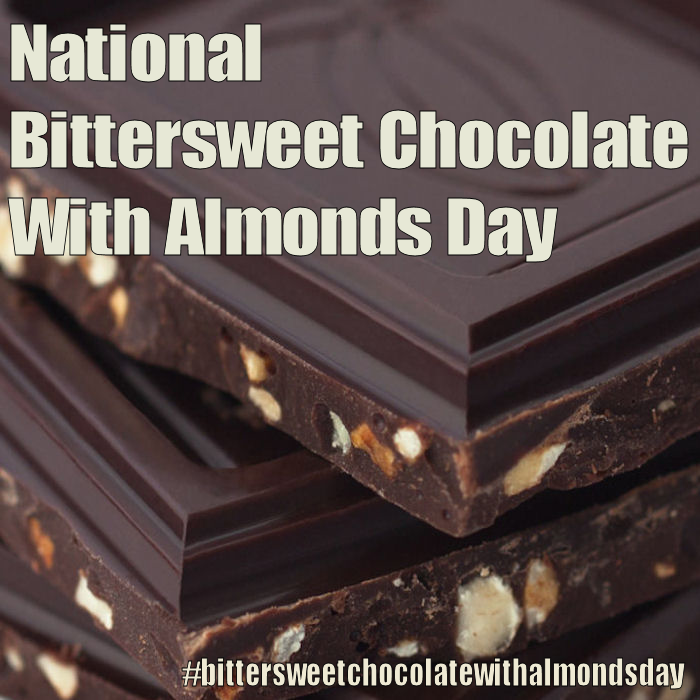 National Bittersweet Chocolate With Almonds Day November 7 2016 Bittersweet Chocolate Chocolate Almond