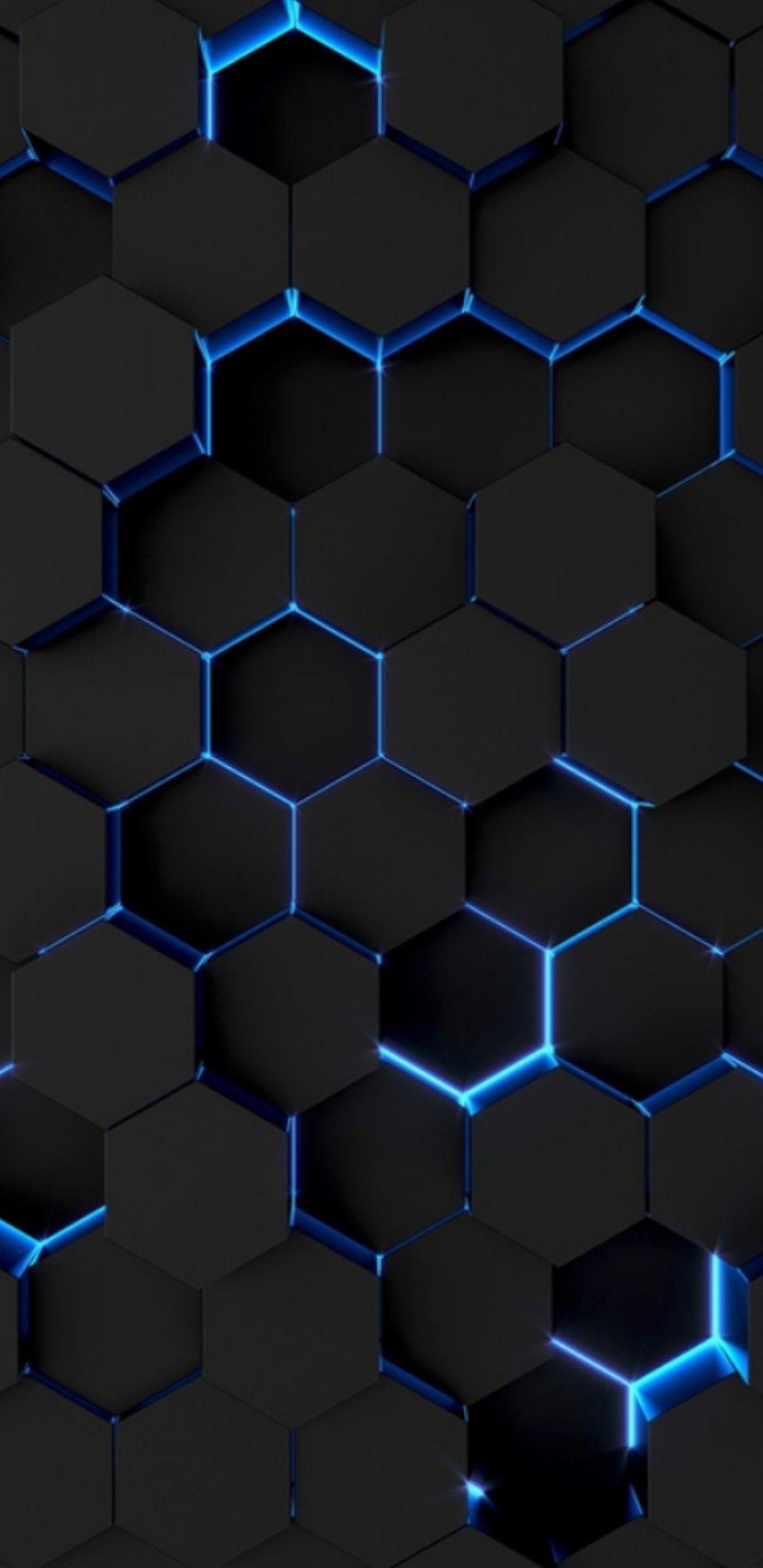 Black Surface Color Honeycomb Formation With A Slim Light Blue Neon L E D Outline Phone Wallpaper Design Technology Wallpaper Phone Wallpaper