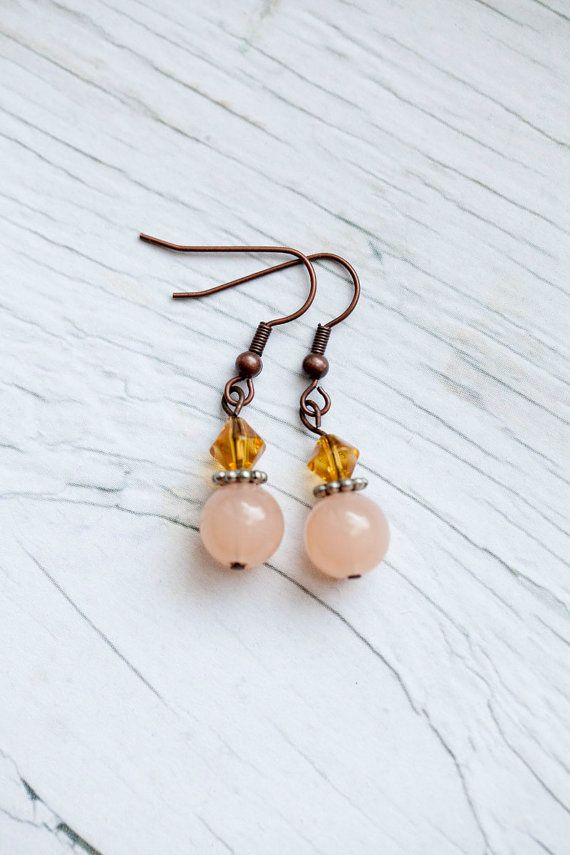 Peach drop earrings by WhiteLilyDesign on Etsy, $10.00 ...