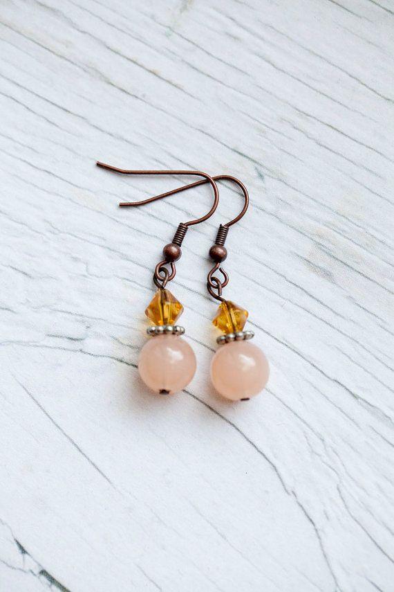 Peach drop earrings by WhiteLilyDesign on Etsy, $10.00