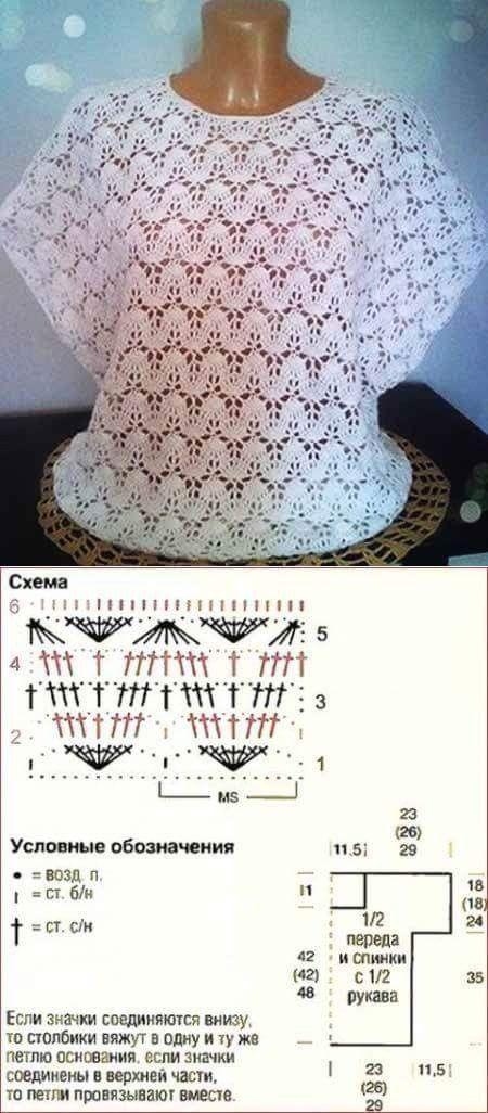 Pin de Carmen g en tejido | Pinterest | Blusas de crochet, Patrón de ...
