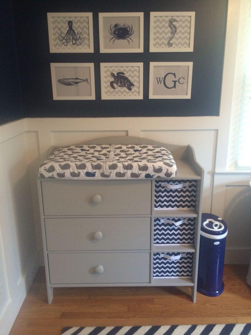 Wesleyu0027s Nautical, Navy And Grey Nursery   Grey Changing Table: IKEA,  Prints: