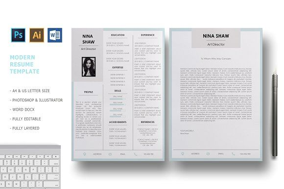 Andromeda Resume Template by Nina Shaw on @creativemarket Resumes - apple pages resume templates