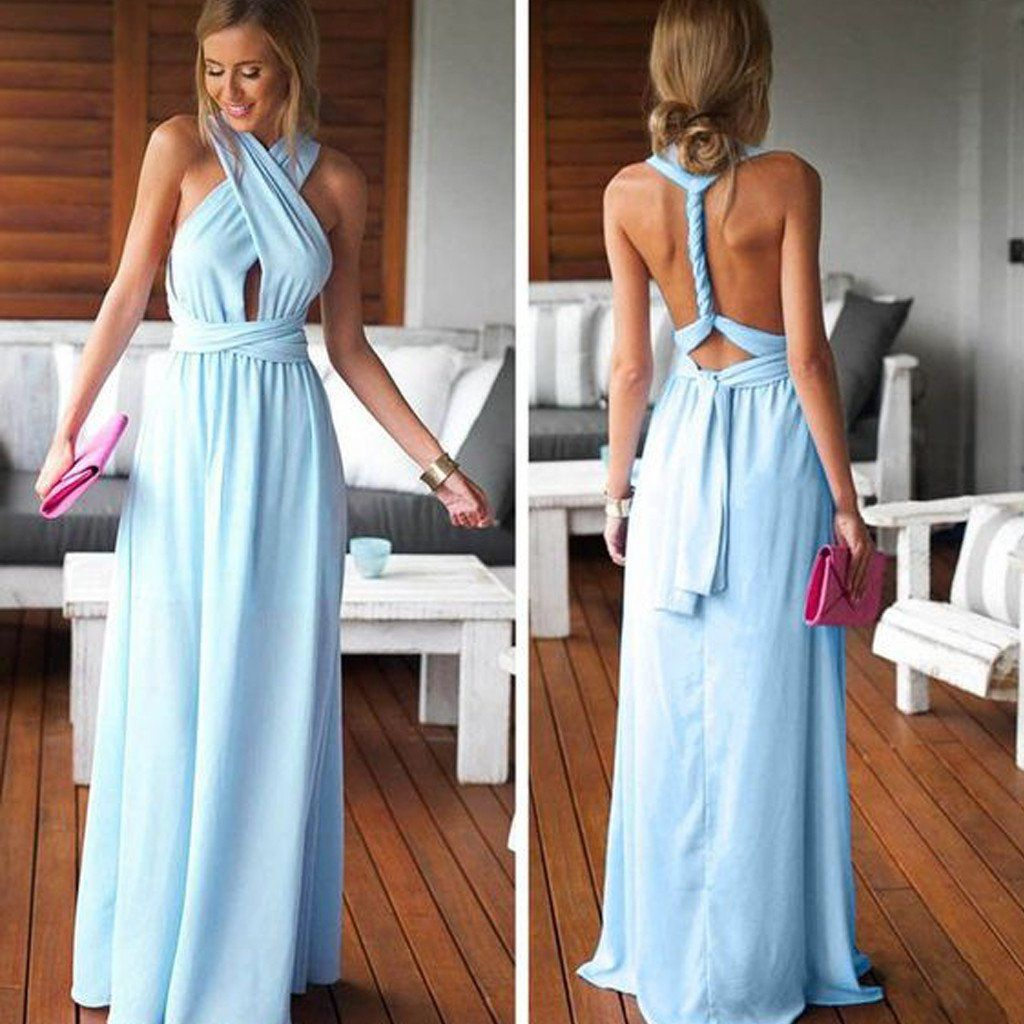 Long dresses for wedding party  Cheap Simple Convertible Blue Long Bridesmaid Dresses for Summer