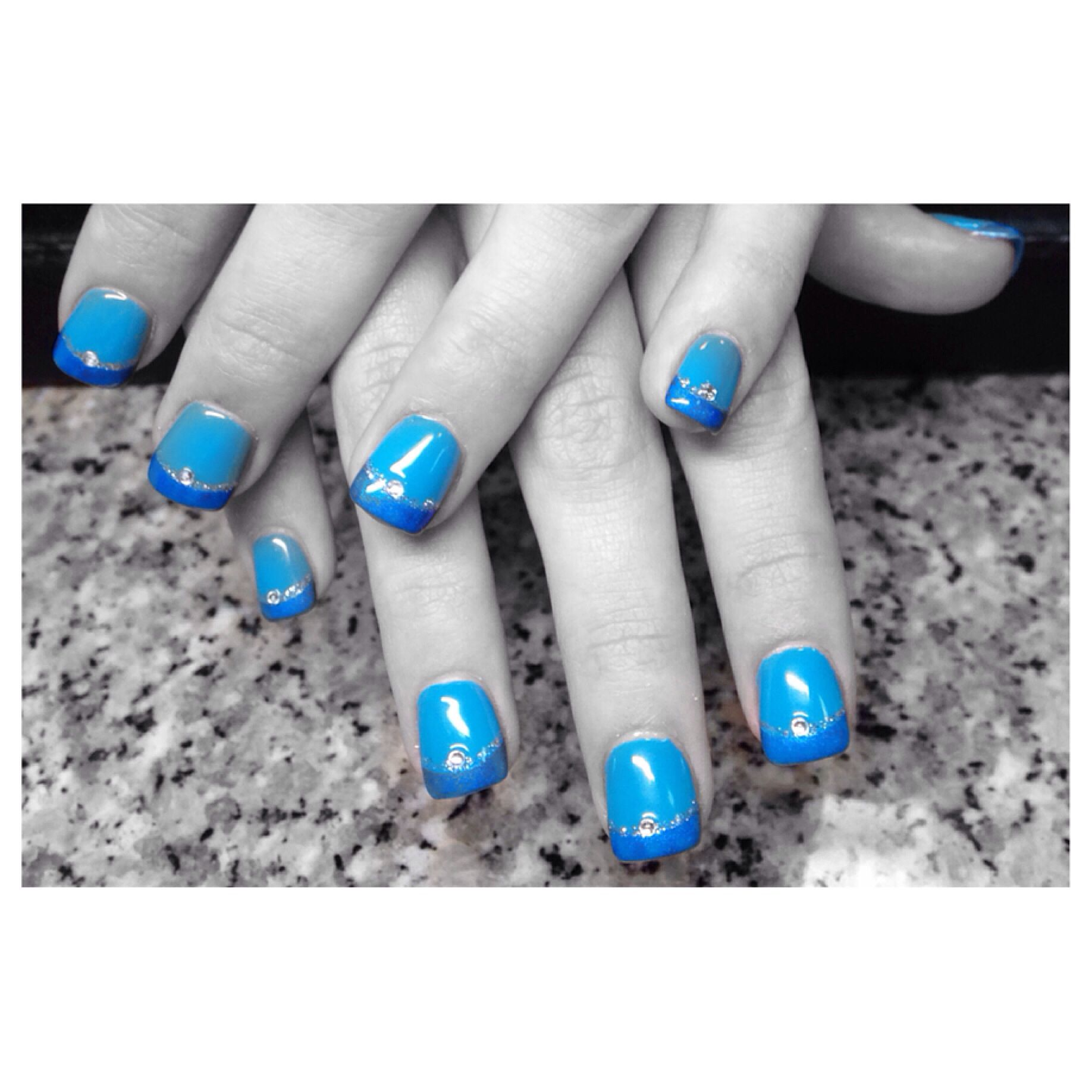 crazy blue done by nail salon first | Nails, Nail art ...