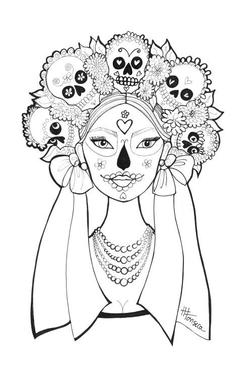 free printable day of the dead coloring pages by heather fonseca