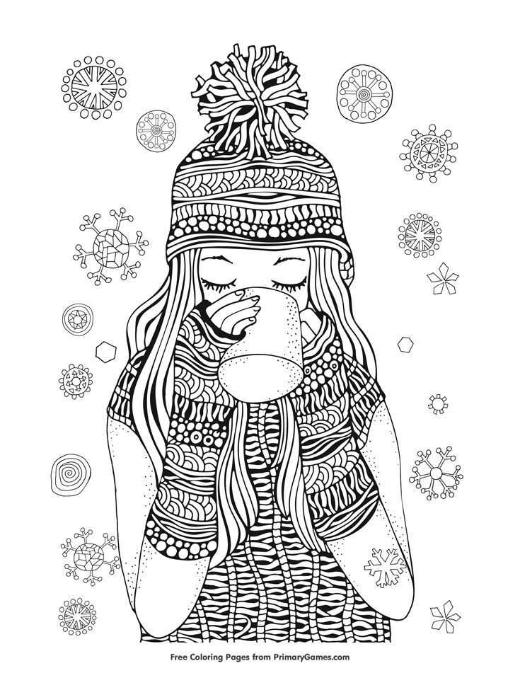Winter Coloring Pages eBook: Girl Drinking Hot Chocolate