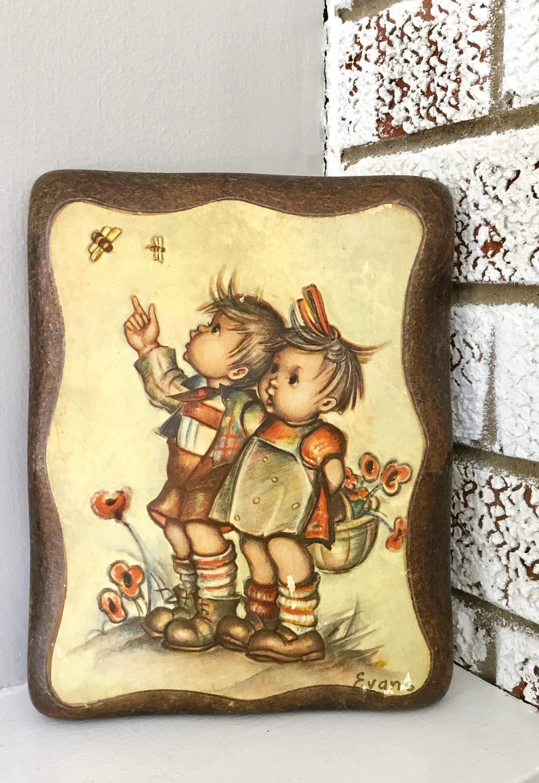 Vintage mid century mod hummel inspired wood wall plaque vintage
