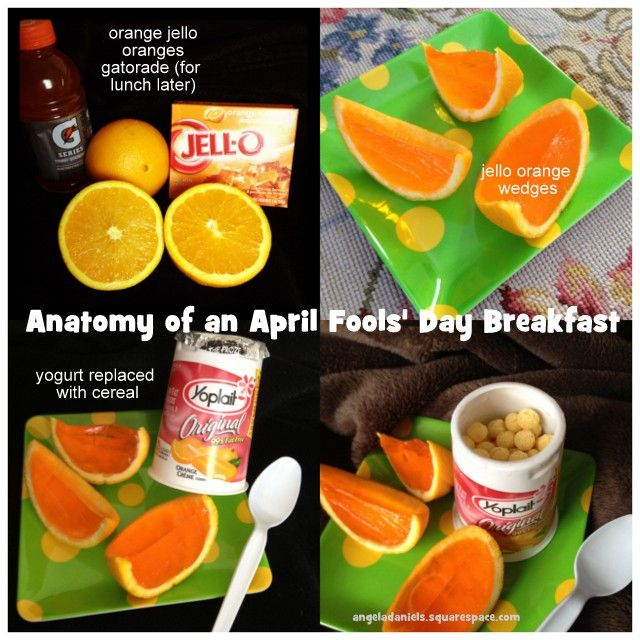 Anatomy Of An April Fools Day Breakfast Jello In Orange And Cereal