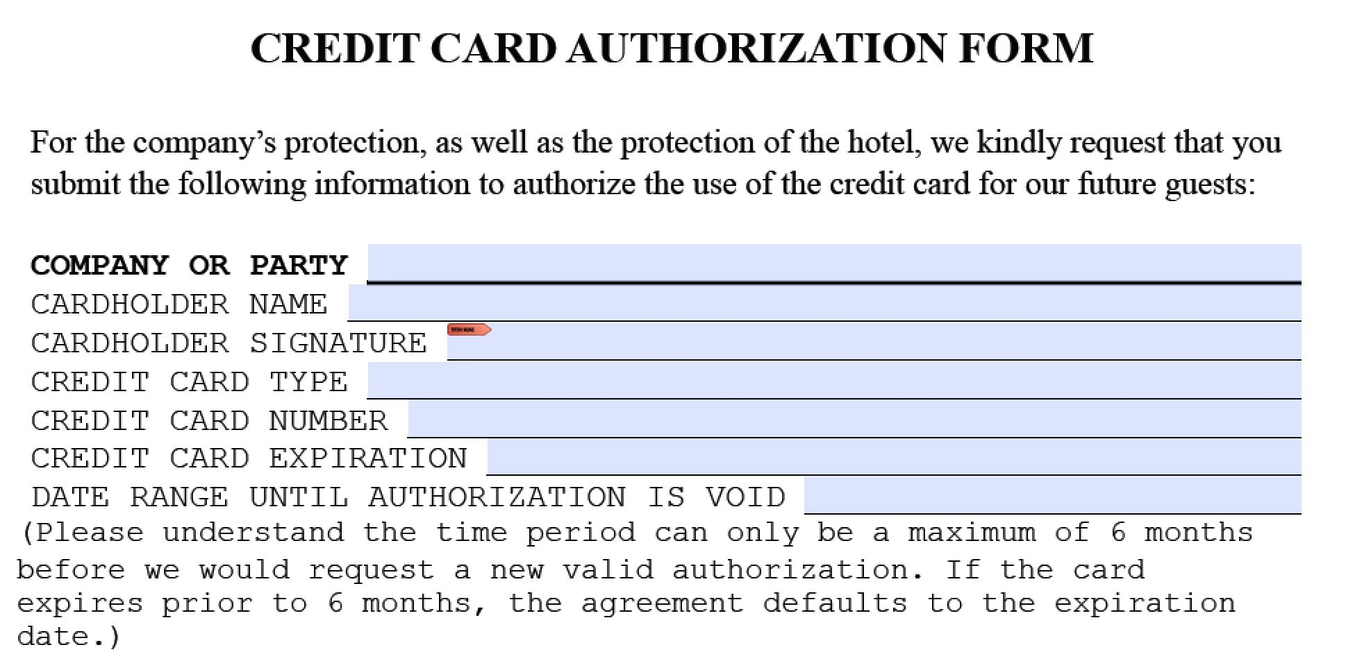 Download Holiday Inn Credit Card Authorization Form Template Pdf