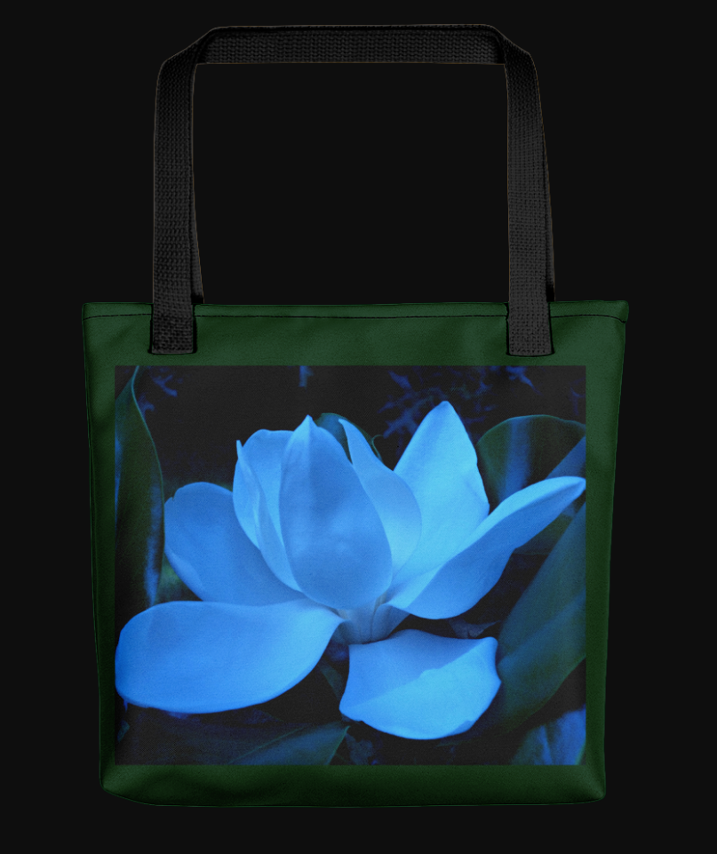 The corner stone cowboy abstract blue magnolia bloom  tote bag centered photo design spun polyester fabric black cotton denim handles also unique print on demand rh pinterest