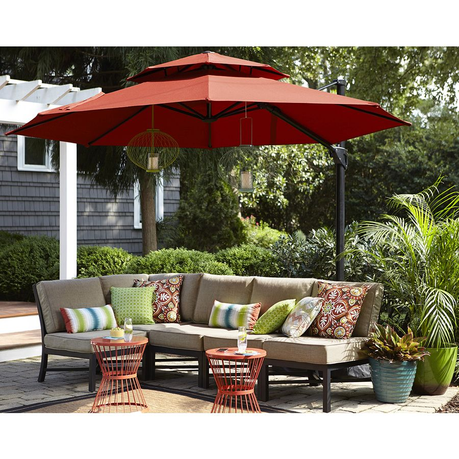 Shop Garden Treasures Red Offset Patio Umbrella (Common: 10.5 Ft W X  10.5 Ft L; Actual: 10.5 Ft W X 10.5 Ft L) At Lowes.com