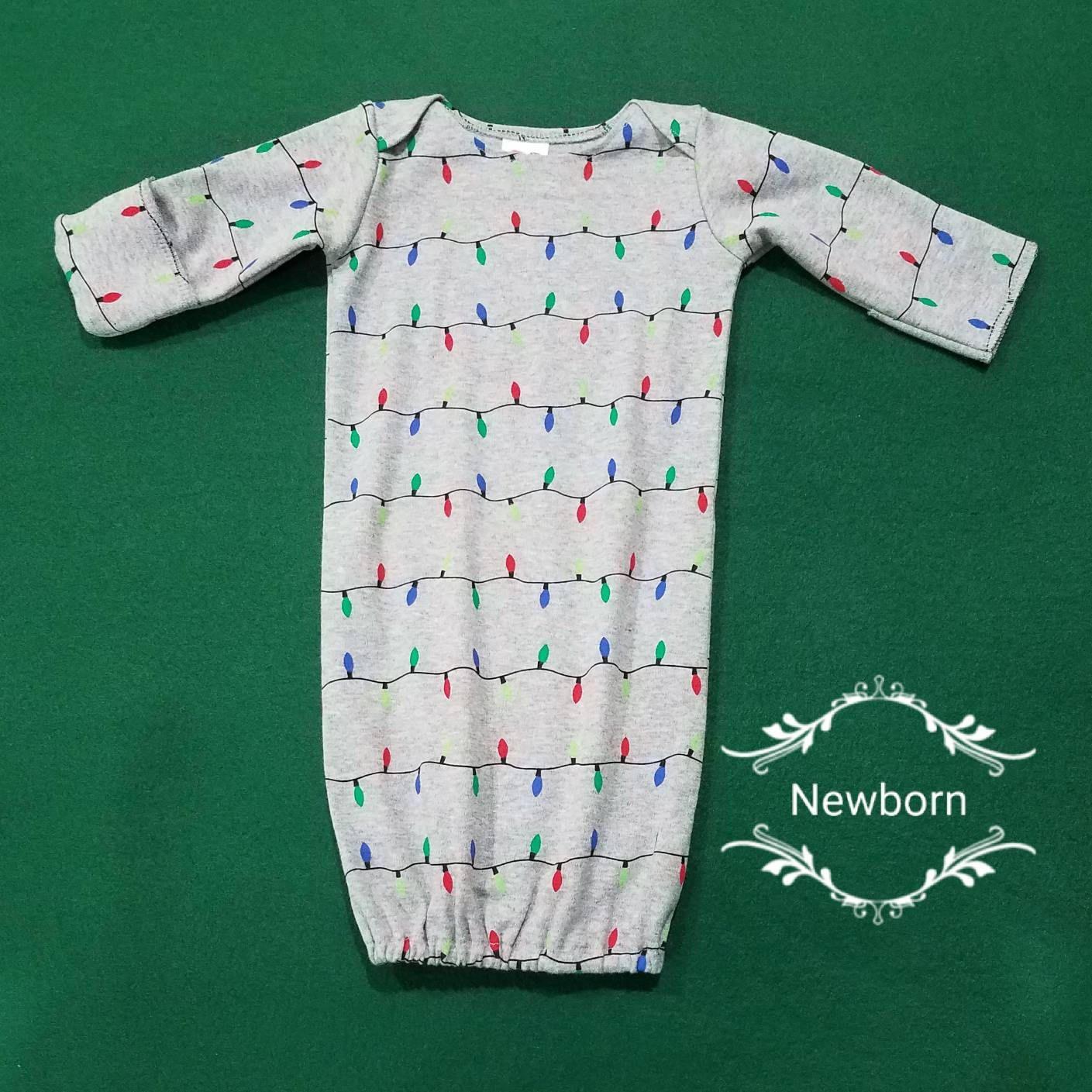 Newborn baby sleep gown and beanie hat, newborn night gown, baby ...
