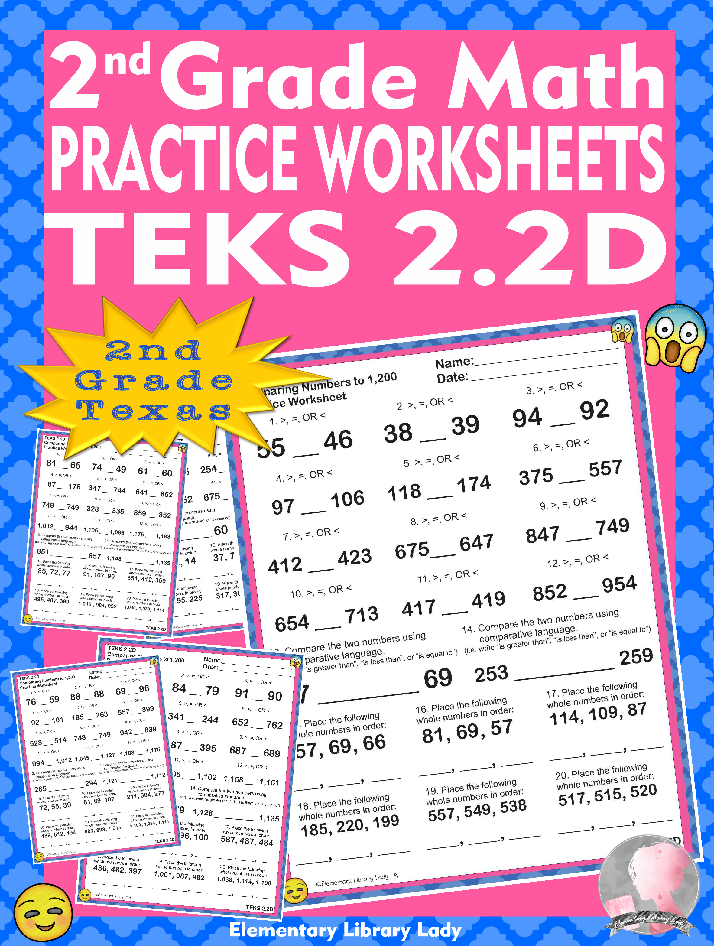 Math TEKS 2.2D Worksheets Texas 2nd Grade Place Value to 1 [ 3129 x 2362 Pixel ]