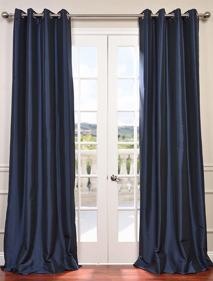 Navy Blue Grommet Blackout Faux Silk Taffeta Curtain Navy Blue