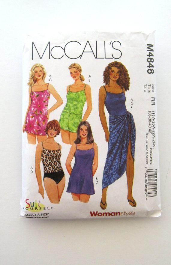 19e6362c18 Womens Plus Size Swimwear Pattern McCalls M4848 Beach Top Swim-dress Skirt  Briefs Swim-shorts Sarong Sewing Pattern Size 18W-24W Bust 40-46