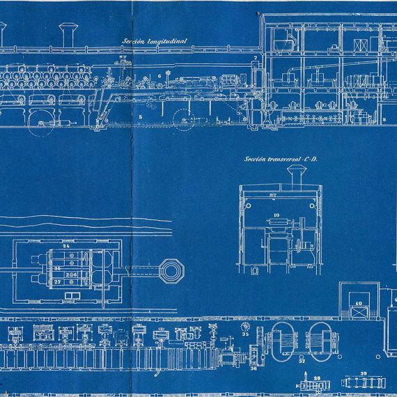 Industrial Blueprint of a Paper Mill 1920s by CarambasVintage - copy blueprint network design