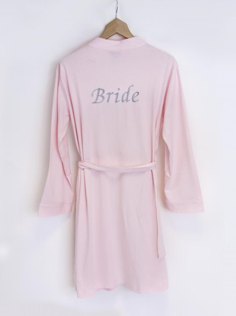 Bridal Pink Jersey Dressing Gown with Personalised Embroidery ...