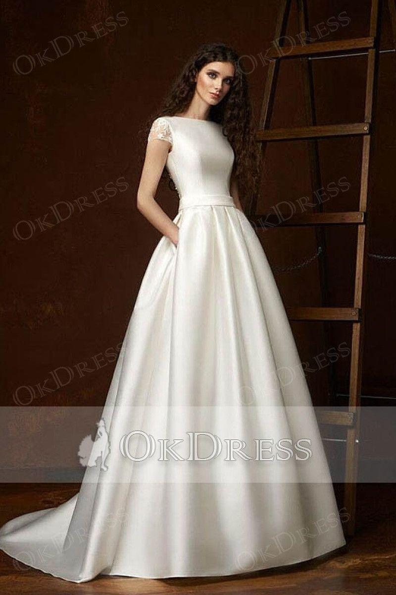 Modern Short Sleeves Boat Neck Satin Ball Gown Wedding Dresses Ball Gown Wedding Dress Elegant Wedding Dress Wedding Dresses Satin [ 1200 x 800 Pixel ]