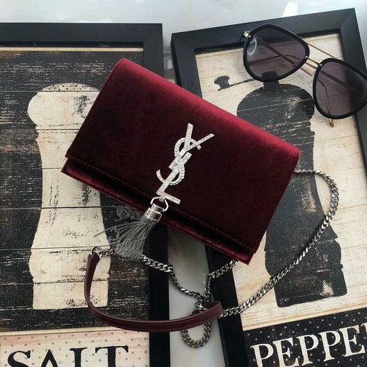 ab4cf5ae198 2017 F/W Saint Laurent Kate Chain and Tassel Wallet in Bordeaux Velvet and  Crystals