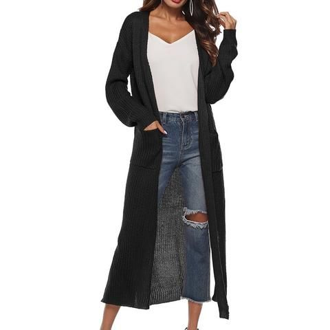 eb4939d03b LAAMEI Long Cardigan Women Autumn 2018 Fashion Long Knitted Sweaters Female  Oversized Tops Fall Casual Black Coat Split Clothing