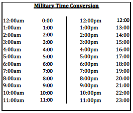 Military Time Conversion Chart  Google Search  Random