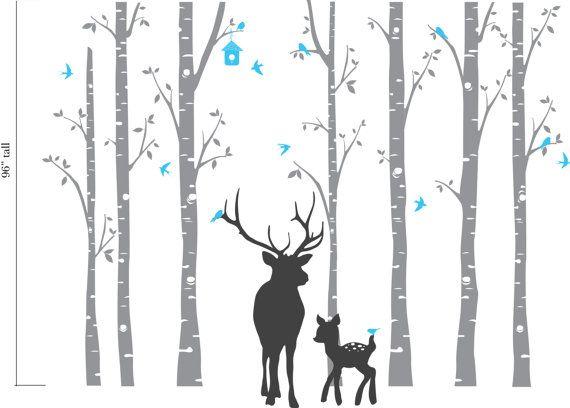 birch tree set Birch Forest Decal with Elk and fawn,5 Birch decal Deer Birch Nursery decals Baby Decals Modern Nursery Woodland theme