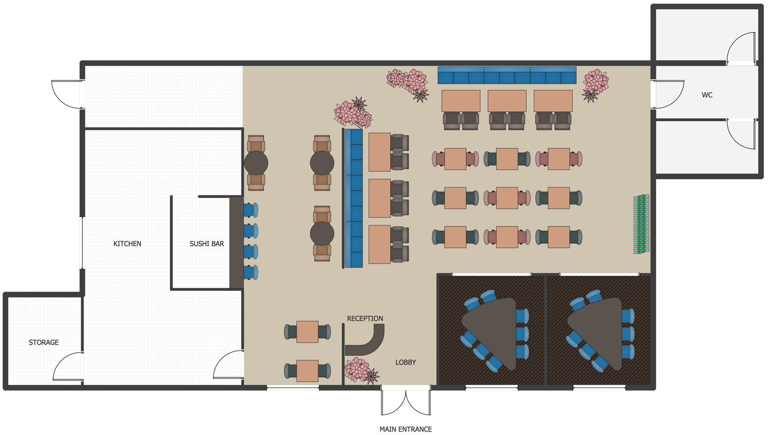 Office Layout Software Create Great Looking Office Plan Office Layout Floor Plan With Conceptdraw Restaurant Floor Plan Restaurant Flooring Cafe Floor Plan