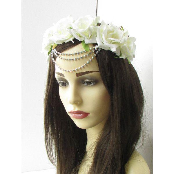 Ivory White Silver Diamante Rose Flower Hair Crown Garland Headband