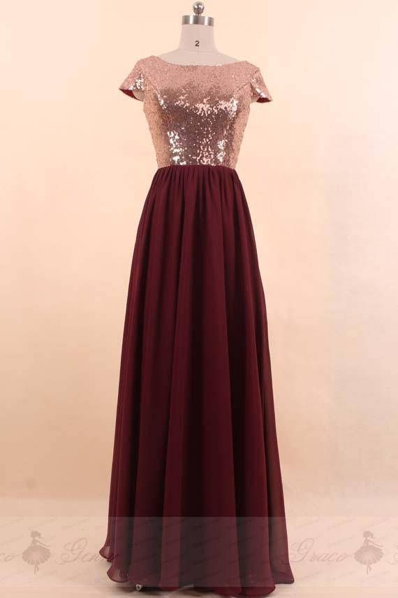Bridesmaid Dress Rose Gold Burgundy 47259ded1718