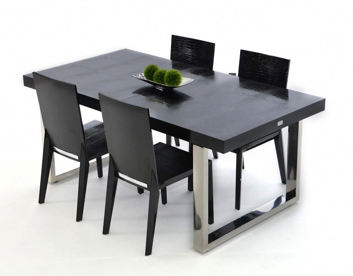 Modern Lacquer Dining Table set furniture in Black - $1062.5 -- Features: Rectangular, Black crocodile lacquer table top