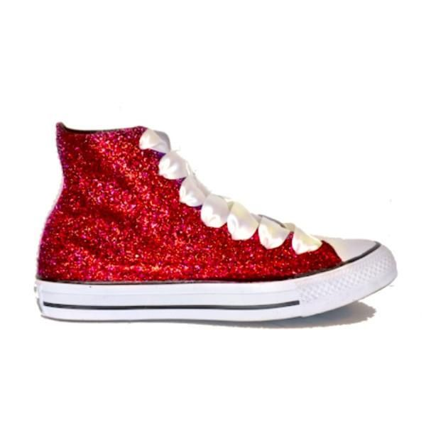 Women's Sparkly Glitter Converse All Stars High Top Red