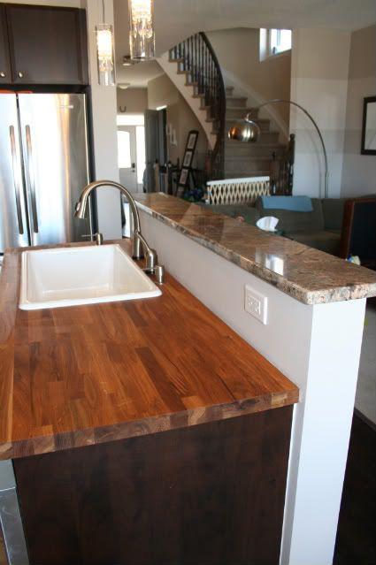 Dark Wood Cabinets/Butcher Block Tops. IDea. Blue Home Idea Dark wood cabinets, Dining room ...