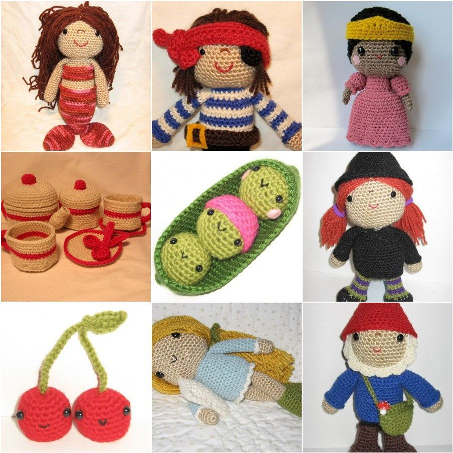 Fairy Tales crochet patterns. A special group that is all about fairy tales!  You get patterns to crochet a mermaid and a pirate, a princess, peas and a tea set, a witch and some poisoned fruit ;), a sleeping beauty and a dwarf  (well, it's a gnome!)  Get all of them together for a discounted price and save!