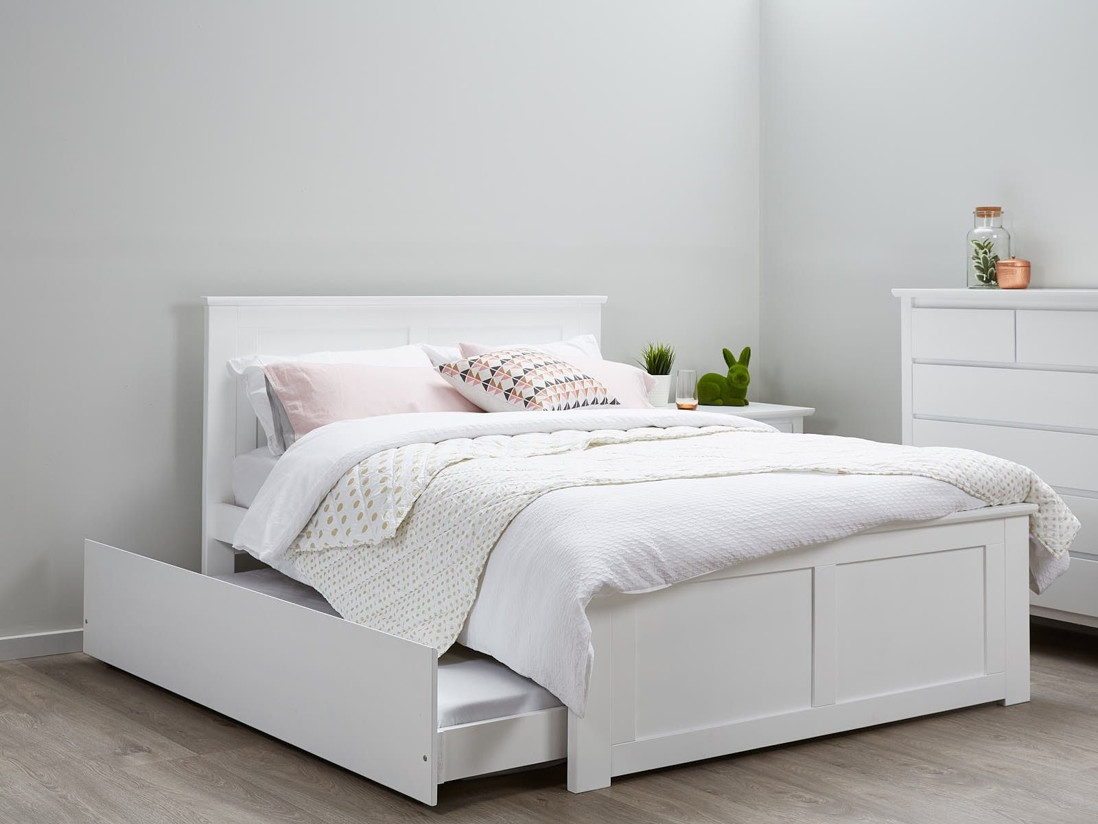 Double Size Bed Coco White Double Bed With Trundle Hardwood Frame Home