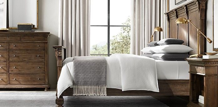 St James Upholstered Bed Collection Antiqued Graphite Restoration Hardware Wood And Upholstered Bed Fabric Panel Bed Upholstered Beds