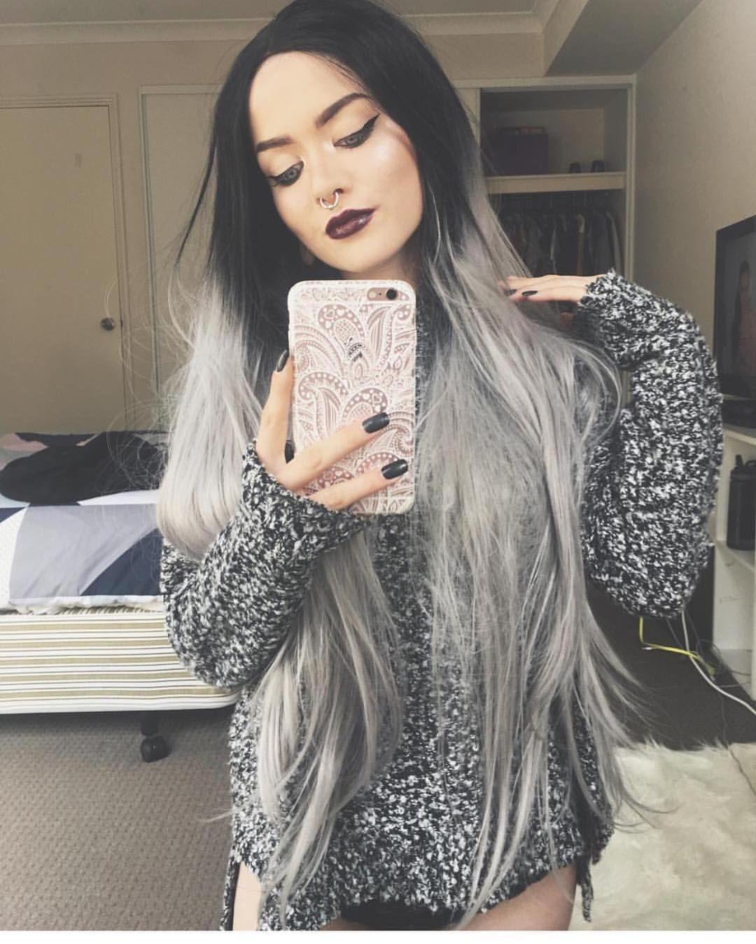 Gardensovergraveyards looks incredible in lush wigs style grey