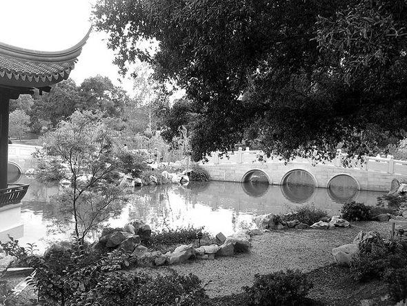 Water feature construction with bridge, pond and stream   otl - chinesischer garten brucke