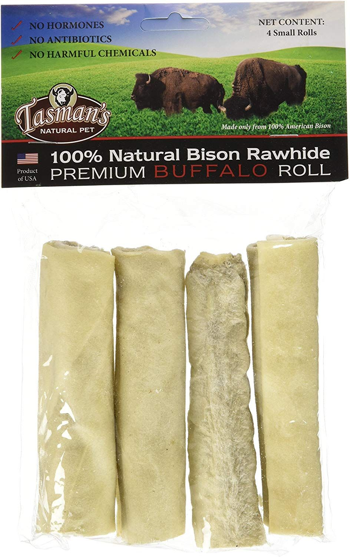 4 Small Rolls each 3 Pack Tasmans Natural Pet All-Natural Buffalo Rawhide Rolls