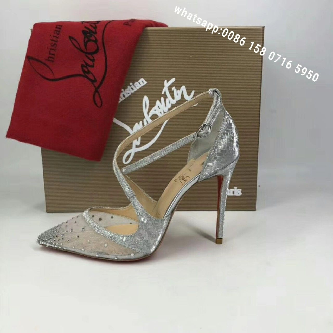 1f44348d4b3a christian louboutin twistissima strass women pumps summer shoes silver  original quality worldwide shipping