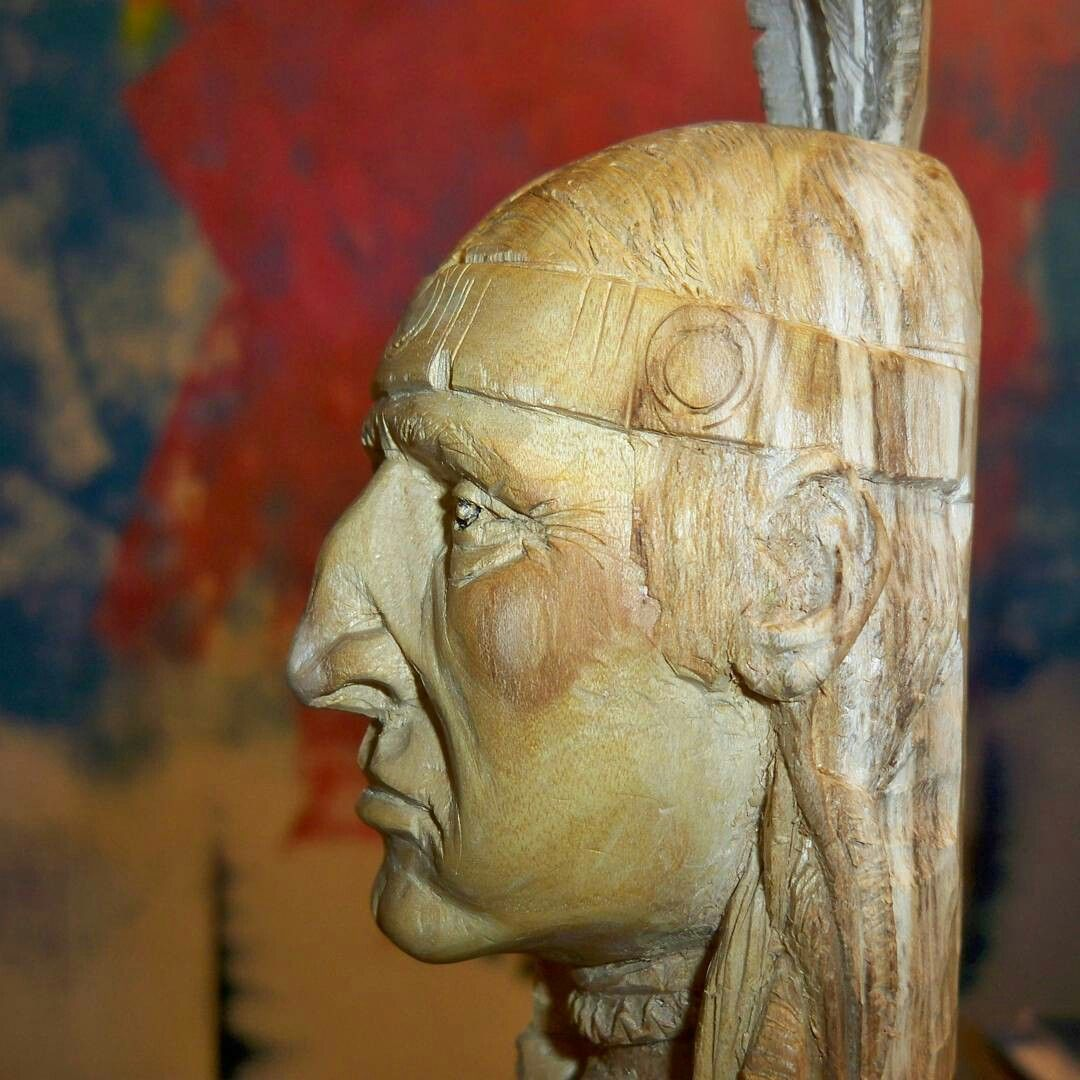 Hand carved native american on mulberry wood profile robvegart