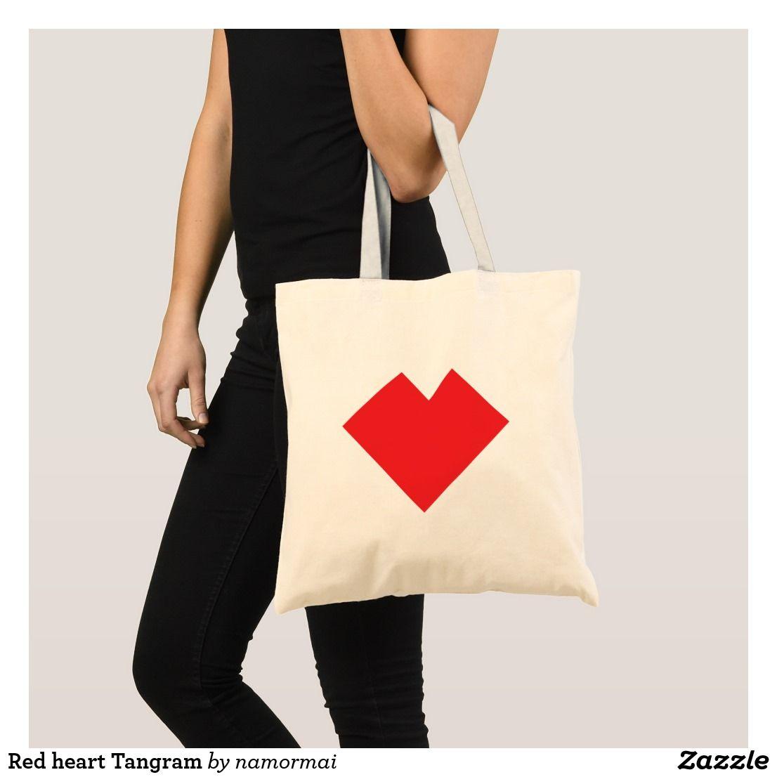 Red heart Tangram Tote Bag