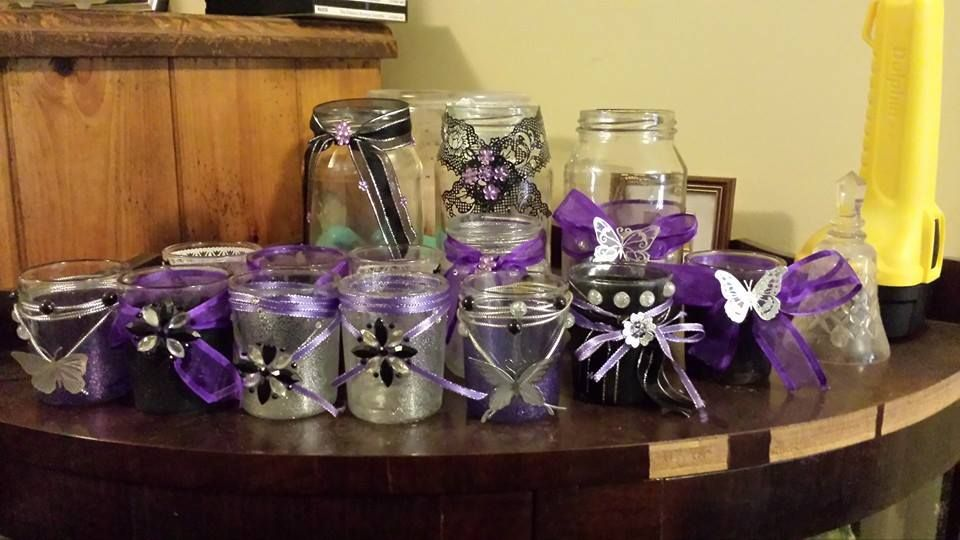 Jars and cheap glass votive holders decorated for my daughters 18th