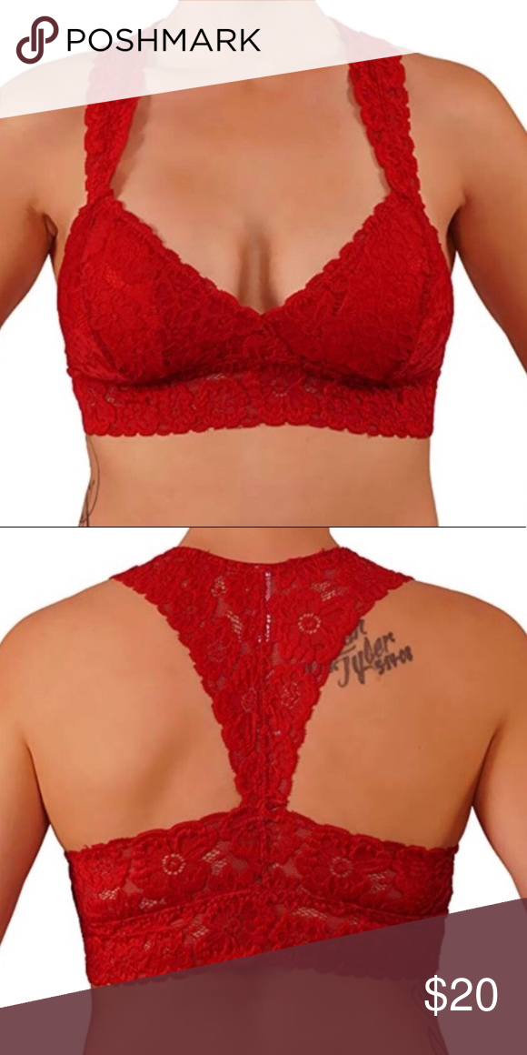 58a2f854a96 Red floral lace Racerback Bralette Item Details  Beautiful Floral Lace  Bralette. Features RacerBack Finish