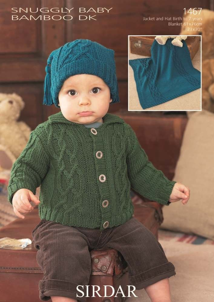 Cardigan, Blanket & Hat in Sirdar Snuggly Baby Bamboo Dk | Knitting ...