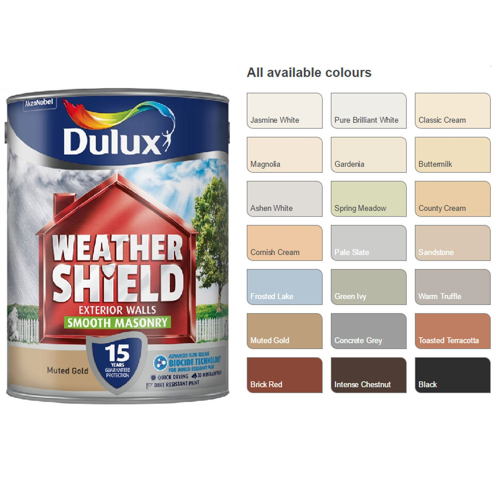 Dulux Weathershield Smooth Masonry Paint 5l Pick Your Colour Outdoor Paint Ebay Masonry Paint Dulux Weathershield Outdoor Paint
