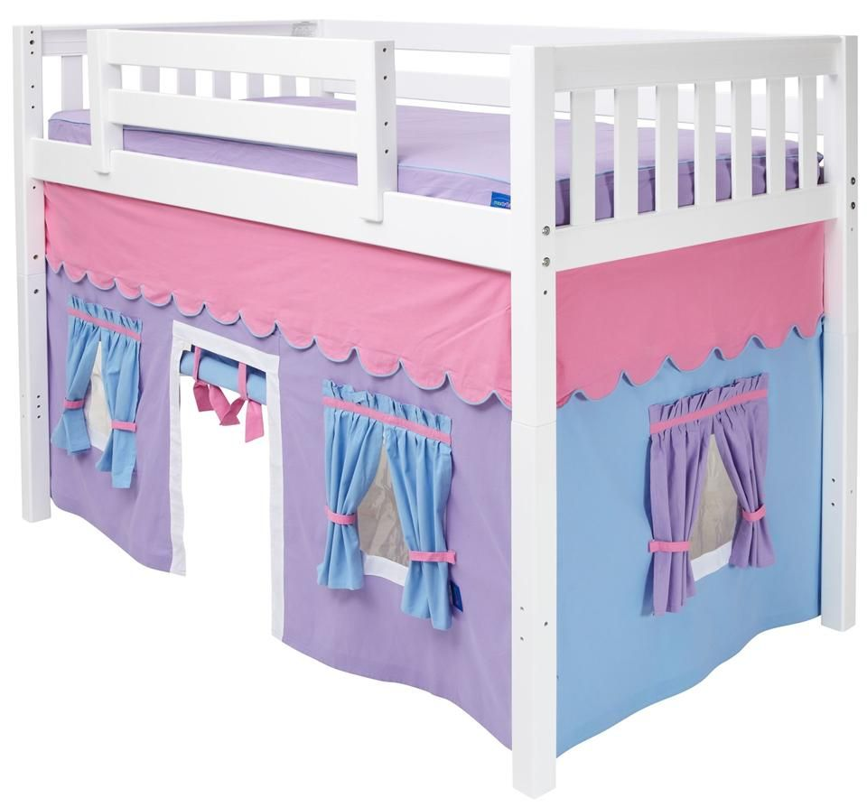 Childrens Mid Loft Bed Curtain W Adhesive Velcro Attachments For