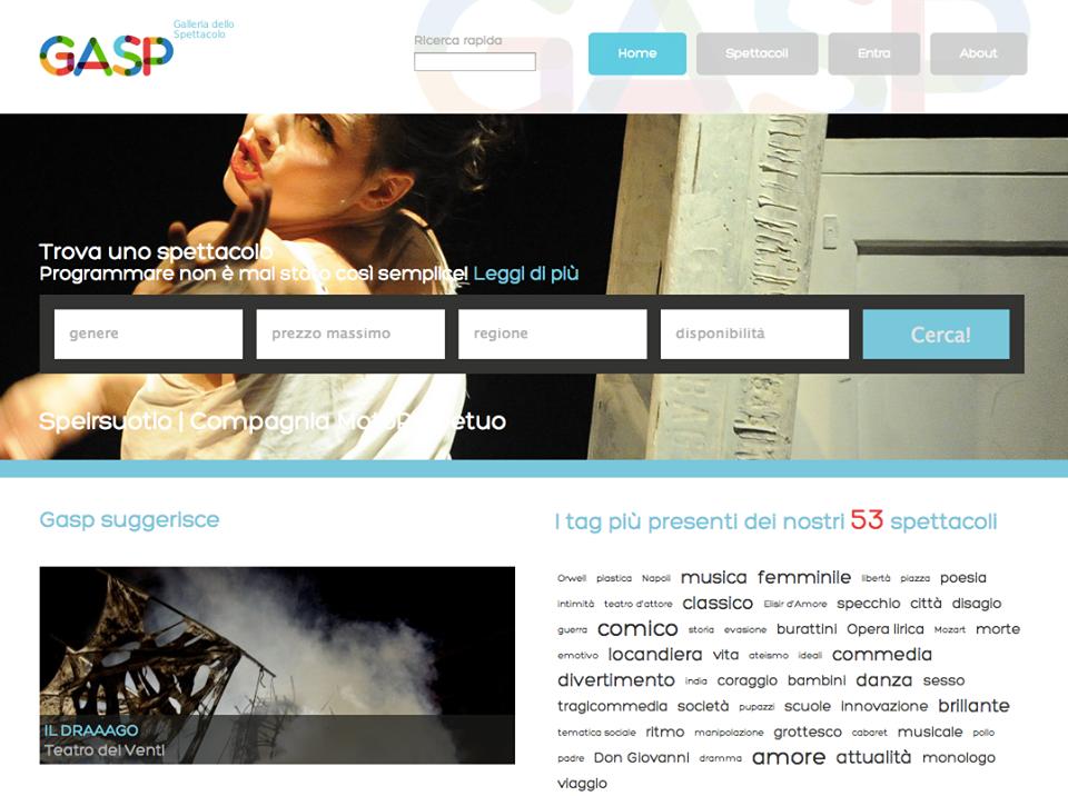 Web Design per GASP - Galleria dello Spettacolo, portale dedicato a compagnie, rassegne e organizzatori teatrali. Progetto di Craq #Design Studio #Bologna www.craq.it/