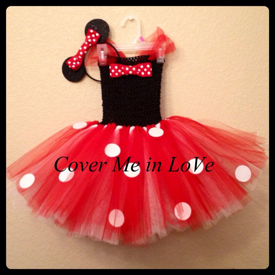 Minnie mouse dress tutu Red black and white SET with HEADBAND EARS ...